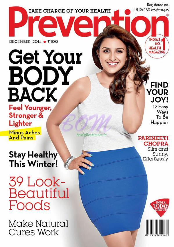 Parineeti Chopra on the cover page of Prevention Magazine for December 2014 Issue