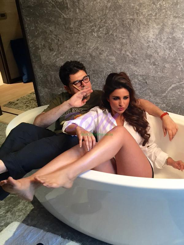 Parineeti Chopra with Dabboo Ratnani behind the scenes picture