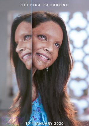 Poster of Deepika Padukone in Chhapaak movie as acid victim
