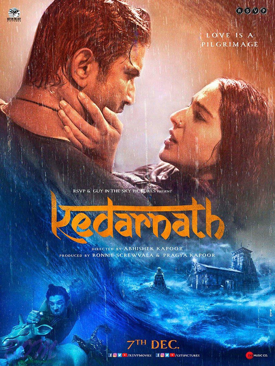 Poster of Kedarnath movie stars Sushant Singh Rajput and Sara Ali Khan