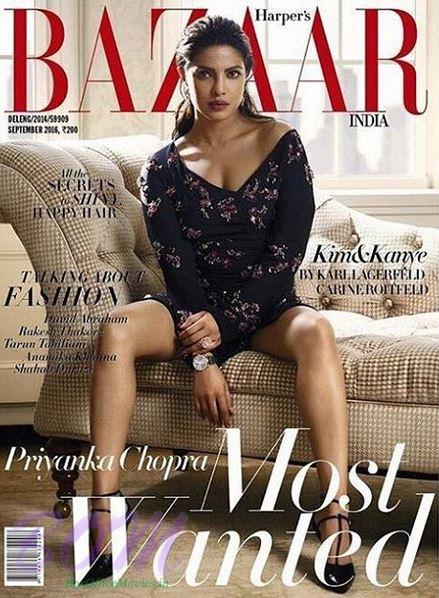 Priyanka Chopra Cover Girl Sep 2016 for Bazaar India Magazine