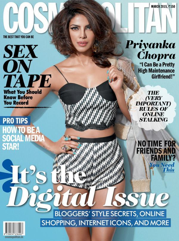 Priyanka Chopra March 2015 cover page girl for CosmoPolitan Magazine