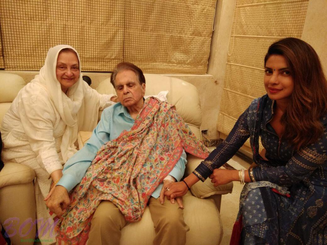 Priyanka Chopra with Dilip Kumar ji and Saira Baji in an evening on 4th Sep 2017