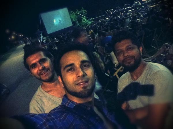 Pulkit Samrat Watching a horror film in open by d river with a party on. That's Bangistan style of partying in Poland.