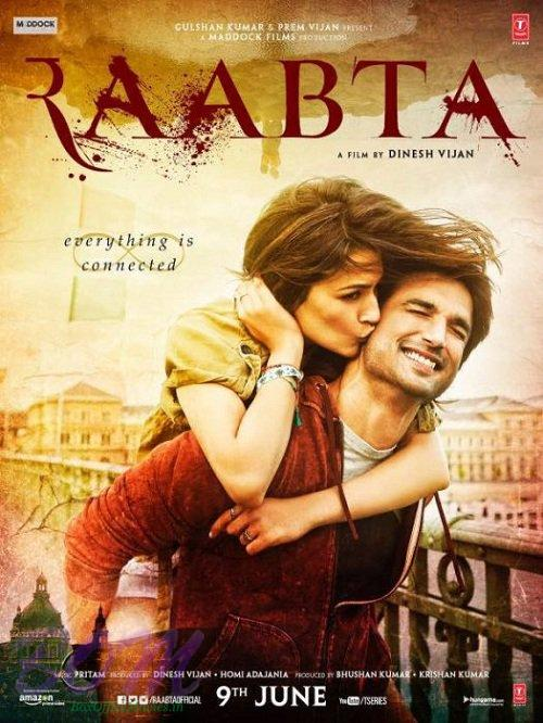 RAABTA movie poster starring Kriti Sanon and Sushant Singh