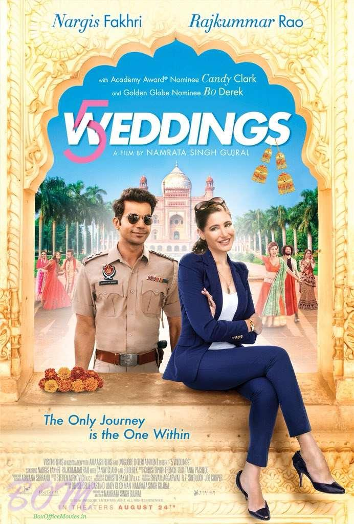Rajkummar Rao and Nargis Fakhri starrer 5 Weddings movie poster
