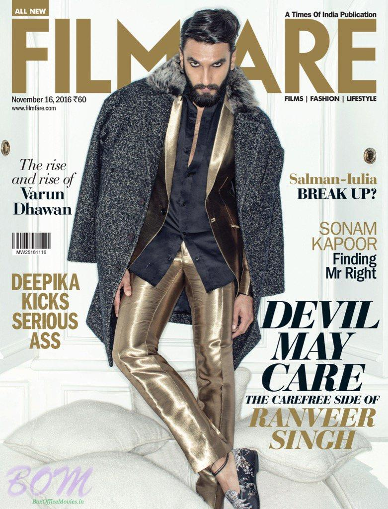 Ranveer Singh cover boy for Filmfare Nov 2016 publication