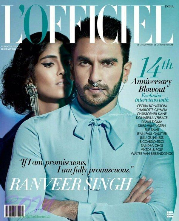 Ranveer Singh cover page boy for LÓfficiel Magazine Feb 2016 issue