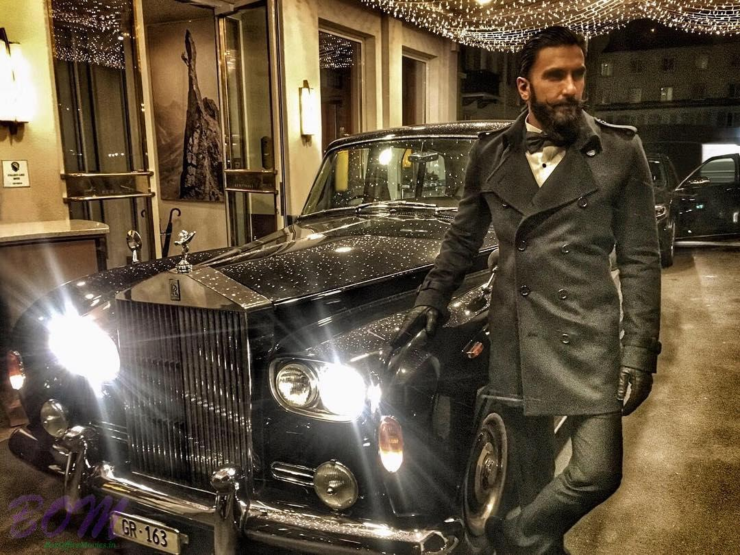 Ranveer Singh with a vintage classic car