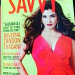 Raveena Tandonon the cover page of Savvy Magazine issue