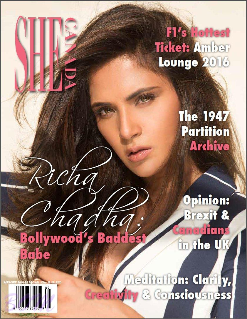 Richa Chadha cover girl for SHE Canada Aug-Sep 2016 publication