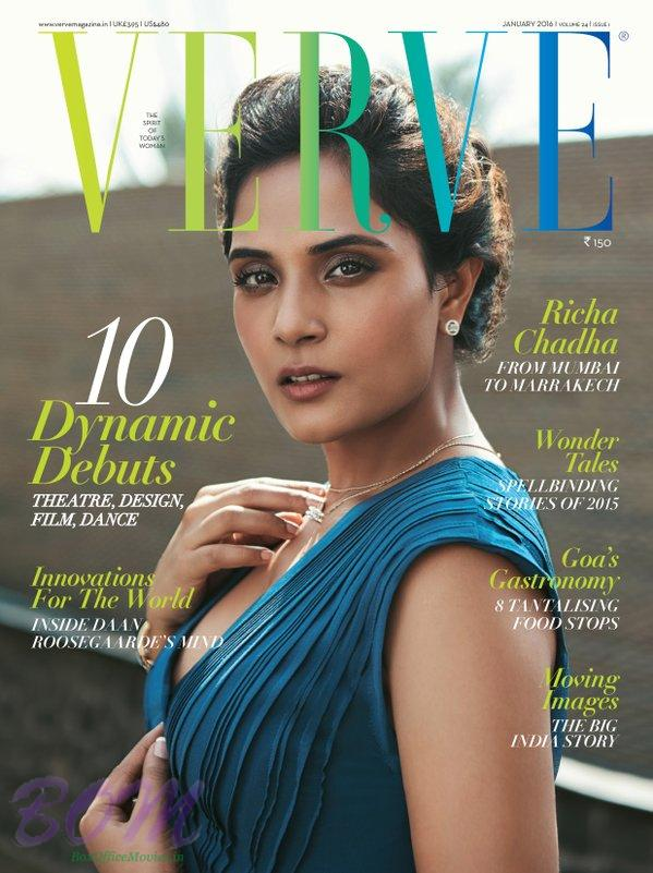 Richa Chadha cover page girl for Verve Magazine Jan 2016 issue