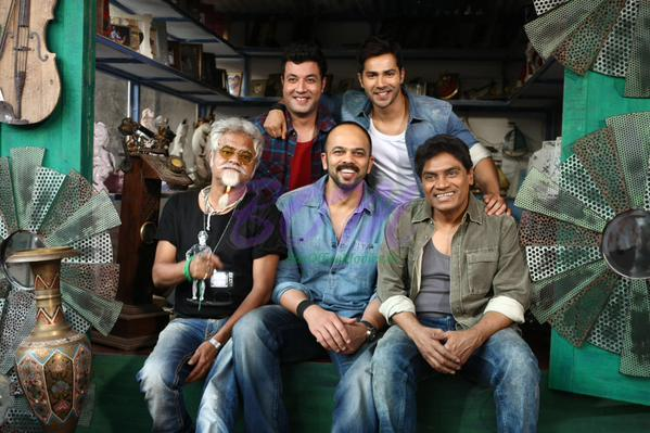 Rohit Shetty, Varun Dhavan, Johnny Lever and Sanjay Mishra kickstart day one of Dilwale.