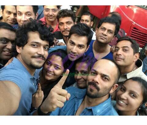 Rohit Shetty and Varun Dhawan day 1 selfie from the sets of Dilwale movie