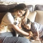 SHILPA SHETTY lazy Sunday 12 June 2016, with son Viaan and her Beagle