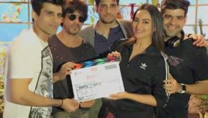 Shahrukh Khan with Sonakshi Sinha and Siddharth Malhotra when ITTEFAQ movie shooting begins from 20 Feb 2017