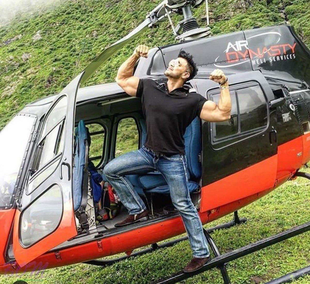 Sahil Khan popular pose during a helicopter ride