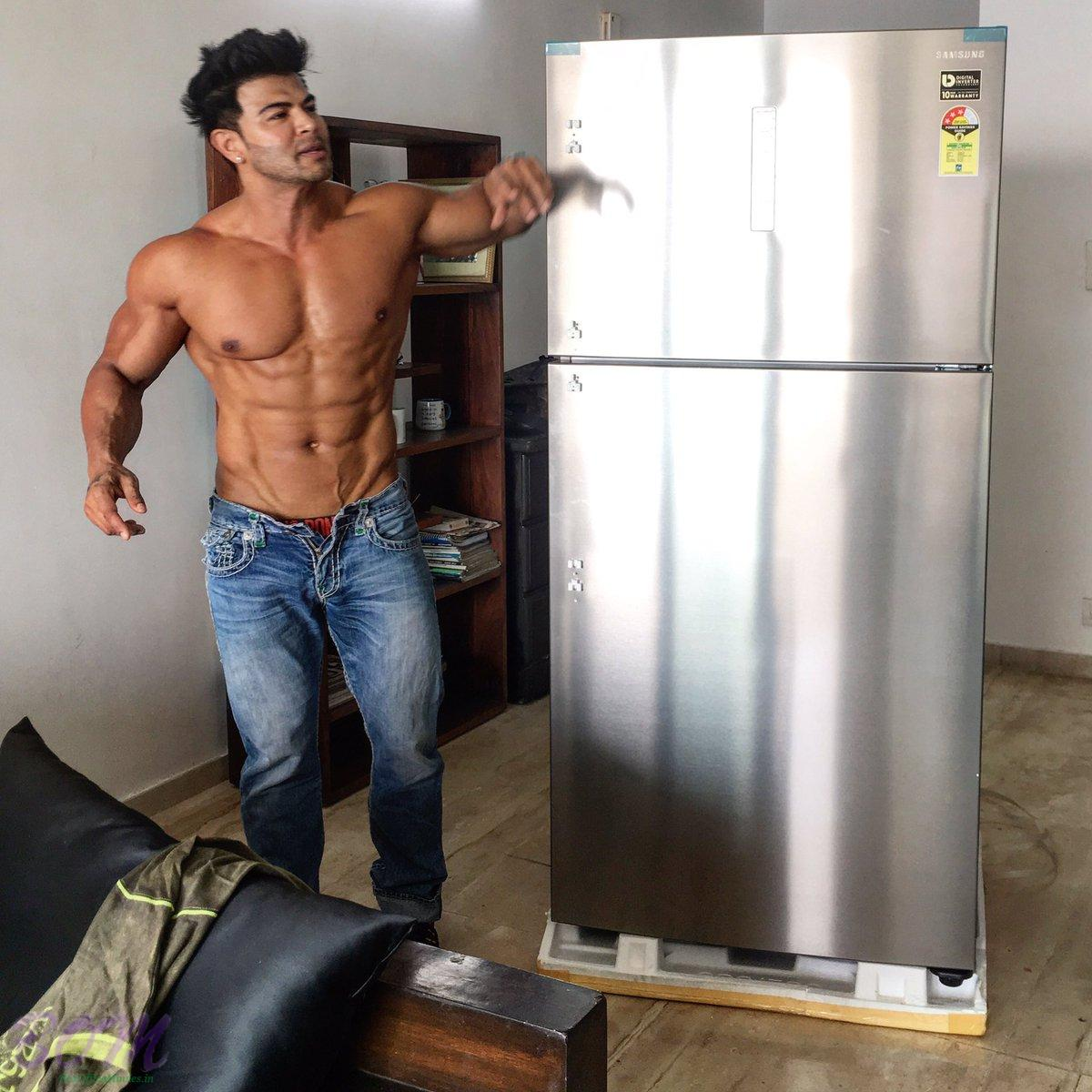 Sahil Khan with his refrigerator