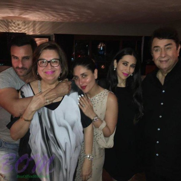 Saif Ali Khan with Kareena and Karishma on birthday bash of veteran actress Babita