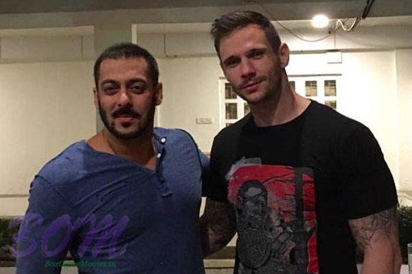 Salman Khan hangs out with kick-boxing champion Drew Neal after a shoot of Sultan movie