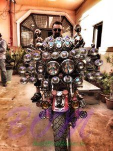 Sanjay Dutt riding the bike of his fan