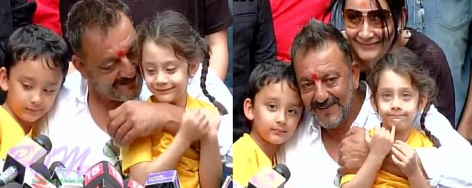 Sanjay Dutt with his wife and kids when addressing to media on release day
