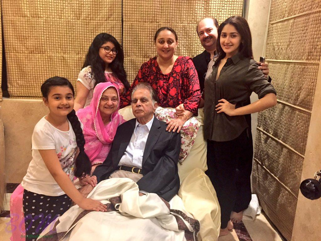 Sayyeshaa Happy New Year 2017 with Dilip Kumar ji and family