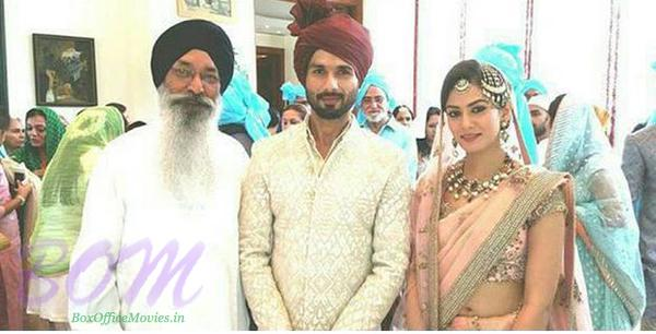 Shahid and Mira taking the blessig of one senior member in the wedding