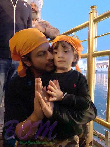 Shahrukh Khan with his son Abram in Golden Temple Amritsar 2017