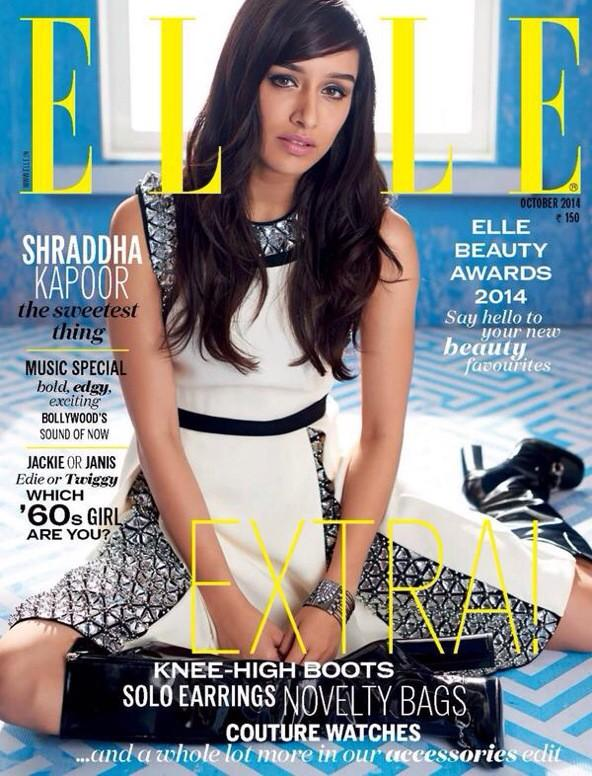 Shraddha Kapoor in ELLE Magazine Cover Page for October 2014 Volume