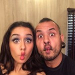 Shraddha Kapoor makes a pout face with make-up artist Daniel Bauer while shooting for PETA.
