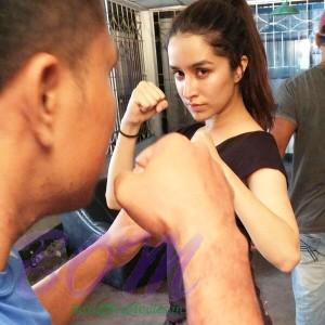 Shraddha Kapoor while preparing for Baaghi