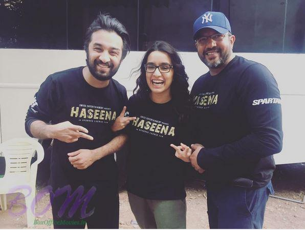 Shraddha Kapoor with Apoorva Lakhia and brother Siddhanth Kaoor while shooting for Haseena