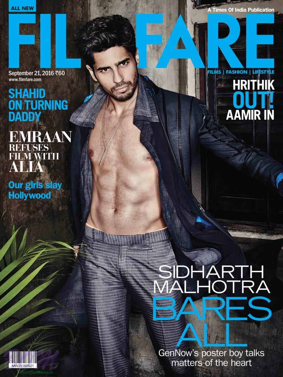 Sidharth Malhotra Cover Boy Sep 2016 for FILMFARE Magazine