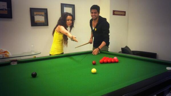 Sidharth Malhotra and Shraddha Kapoor playing snooker together