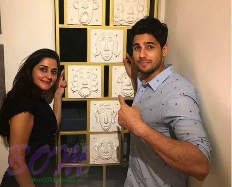 Sidharth Malhotra with Interior stylist Purnima on floating faces installation in Delhi