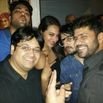 Sonakshi Sinha cute picture with Milap Zaveri and other during 100cr.party celebration - 15 July 2014