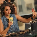 Sonakshi Sinha trying to get the right sipface with the Alphonso Frappuccino