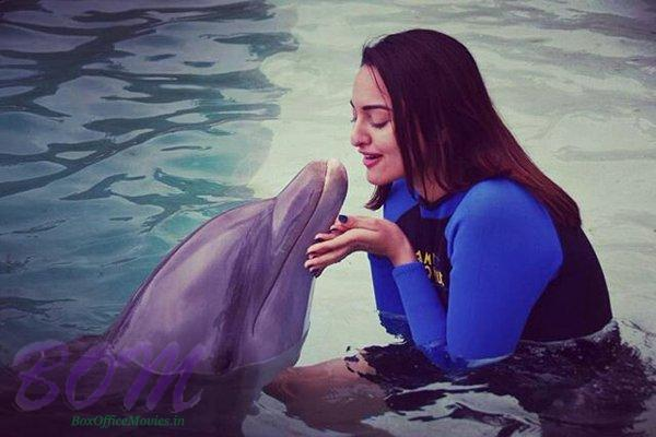Sonakshi Sinha with a Dolphin