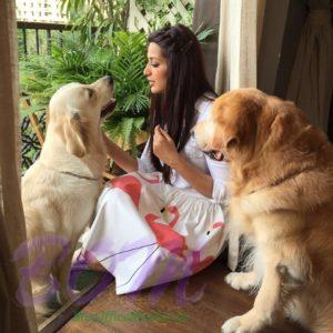 Sonali Bendre Behl with her dogs