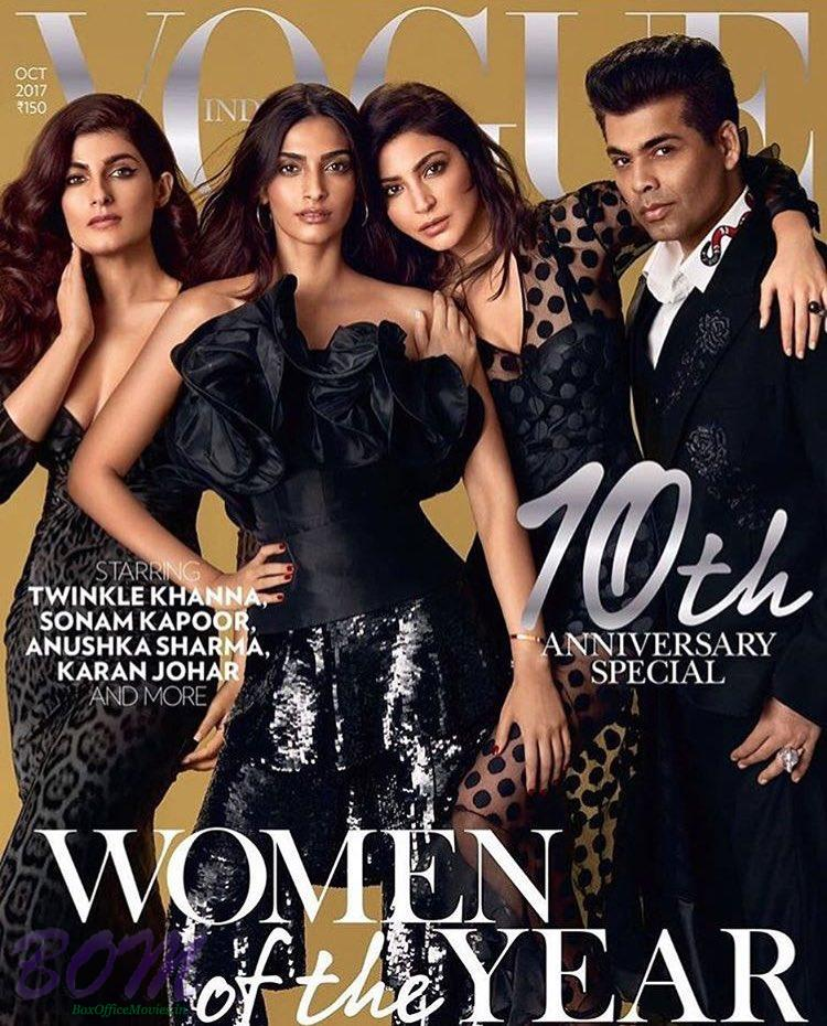 Sonam, Anushka with Karan and Twinkle for Vogue Oct 2017 cover page