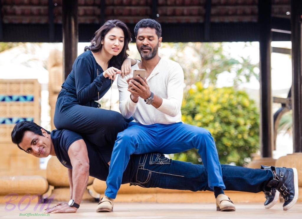 Sonu Sood with Tamannaah Bhatia and Prabhu Deva in his home production 2 in 1
