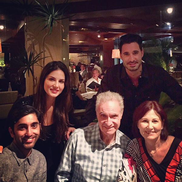 Sunny Leone with brother Sundeep and Husband Daniel Weber family during a dinner time