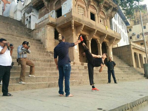 TIGER SHROFF showing off his action moves in Varanasi