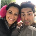 Tapasee Pannu quirky pic with Varun Dhawan for Judwaa2 during a crazy cold in London