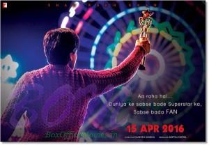 Teaser poster of Yash Raj's movie Fan starring Shahrukh in double roles