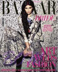 The Hero movie actress Athiya Shetty on the cover page on Harper's Bazaar Magazine Cover Page