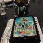 The Shaukeens cake and a bottle of Champagne on the day of trailer launch