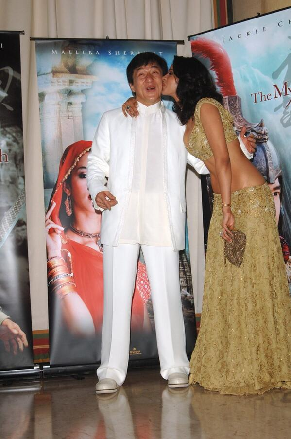 The moment where one global star Jackie chan kissed by another new global star Mallika Sherawat