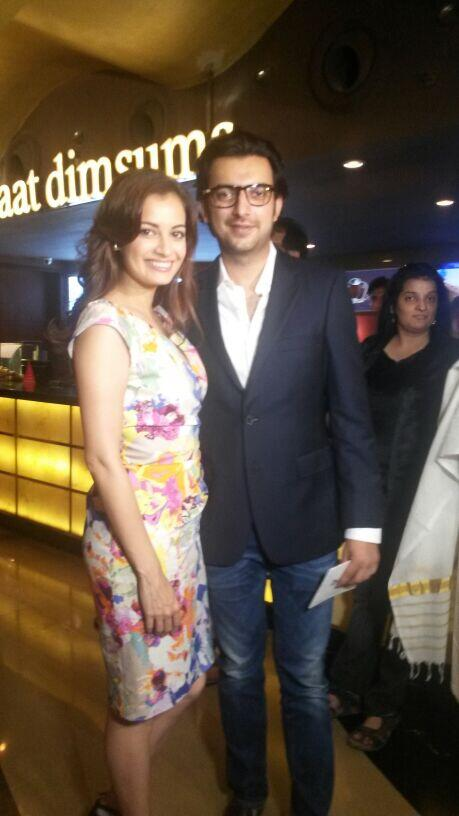 The producers, Diya Mirza and Sahil Sangha strike a pose at the Bobby Jasoos trailer launch